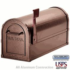 Salsbury Industries - 4800 Series Post-Mount Deluxe Rural Mailbox - Made of heavy duty, rust resistant aluminum and comes pre assembled for easy installation. Rural Mailbox, Mailbox Ideas, Cheap Mailboxes, Copper Mailbox, Aluminium Front Door, Security Mailbox, Mounted Mailbox, Stainless Steel Hinges
