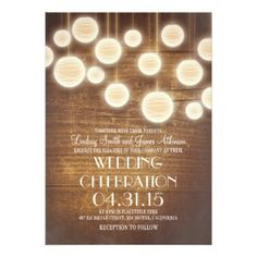 Rustic Lantern Wedding Invitation with Barn Wood #barnweddings