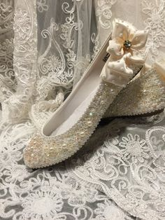 Excited to share this item from my shop: Bridal Ballerina Flats with Beaded Appliqué and Rhinestones, Hand Embellished Bridal Shoes, Wedding Shoes, Girls Dress Shoes, Wellington Boot, All About Shoes, Shoe Clips, Ballerina Flats, Casual Boots, Kind Mode