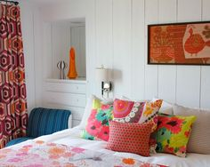 Nanette Lepore's Home [Crisp White Rooms & Lines embelleshed with prints on furnishings/curtains/art]