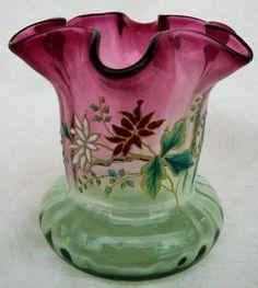 Victorian Art Glass Rubina Verde Webb Enamaled Decoration Late 1800's Execellent | eBay