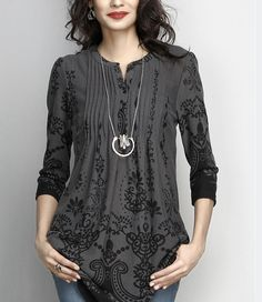88a02e0de59 Love this Charcoal Border Notch Neck Pin Tuck Tunic - Women by Reborn  Collection on