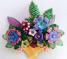 STANLEY HAGLER N.Y.C & IAN St. GIELAR Elaborate Art Glass Flower Basket Pin OOAK | eBay   SOLD: US $147.50