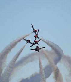 """The Royal Canadian Air Force Snowbirds Demonstration Team (431 Squadron) (a.k.a. """"The Snowbirds"""") performing a tight high speed aerial maneuver that takes your breath away."""