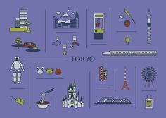 Travel Map Posters - Emma Saynor Illustration & Design Tokyo illustrated digital Print featuring bullet train, Tokyo Tower, Dome and Skytree as well as many other attractions of Tokyo, Japan