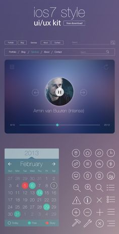 Free iOS7 Style UI/UX Kit for Designers - Freebies - Fribly