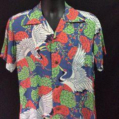 57b4c28c5487 Vibrant 1940's 1950's Men's Vintage Hawaiian by Sun Surf Rockabilly Tiki  Rayon Shirt Medium