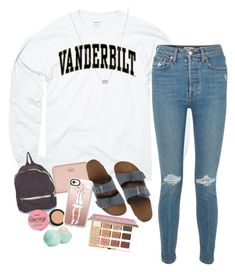 """""""shopping ootd:)"""" by haleyliiz ❤ liked on Polyvore featuring RE/DONE, Kendra Scott, Birkenstock, tarte, Benefit, Eos, Kate Spade and Casetify"""