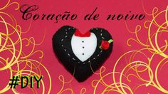 Coração de noivo - passo a passo em vídeo #felt #feltro #DIY #pattern #free #handmade #selfmade #heart #groom #wedding #married #cute #love Felt Patterns, Diy, Christmas Ornaments, Holiday Decor, Youtube, Weddings, Feltro, Colors, Bricolage