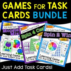 Got task cards? Then you need this bundle! Games for Task Cards is a growing collection of games you can use in any subject area. Just add your own task cards with review questions or problems to solve. Print and prepare the games once and use them all year!