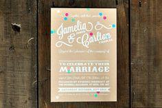 Vintage Confetti Wedding Invitation - Feel Good Wedding Invitations