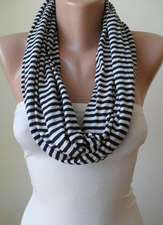 Infinty - Loop Scarf - Dark Blue and Beige Striped - Combed Cotton Fabric for Summer - New