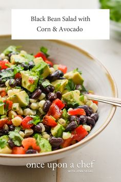 Black Bean Salad with Corn, Avocado  Lime Vinaigrette