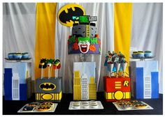 Super Hero Table, ideas for centerpieces to add to our black cat in the middle