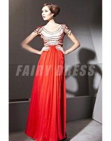 Robe de soirée en Tencel rouge à A-ligne à encolure ovale ornée de strass €325,47
