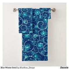 Blue Winter Swirl Bath Towel Set Bath Towel Sets, Bath Towels, Christmas Items, Christmas Card Holders, Keep It Cleaner, Colorful Backgrounds, Party Supplies, Duvet Covers, Print Design