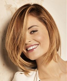 A medium blonde straight coloured multi-tonal loose-bob womens hairstyle by Fabio Salsa