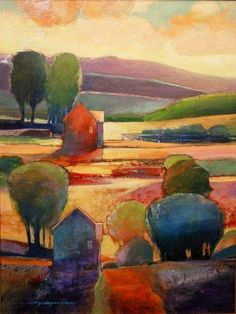 Lovely Autumn tints in this painting by Mark Gould. American artist with a good eye for colour 'My Neighbours House'