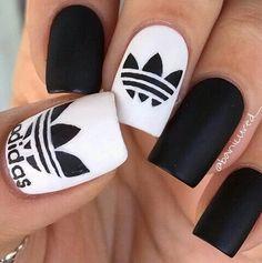 nails, black and white, nail art, adidas, white