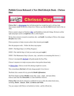 Publish Green Released A New Diet/Lifestyle Book – Chrisso Diet