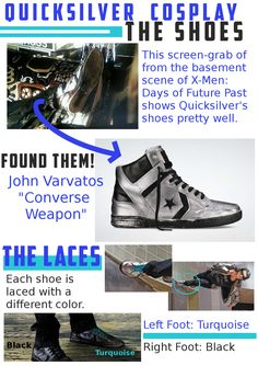 Quicksilver Cosplay.  Quicksilver's Shoes.  X-Men: Days of Future Past.  xmen cosplay