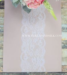6 inches x 10 yds Chantilly Lace Roll White + Blush Table Runner