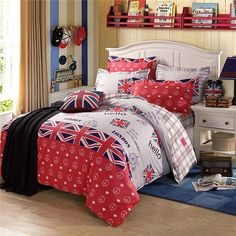 Cheap set make, Buy Quality bed quilt cover set directly from China bed european Suppliers: London Flag Bedding Set Cotton Duvet Cover Set Bedspread Fitted Flat Sheet Pillow Cases Mattress Cover Bed Line bed set Bedding Sets Uk, Bed Comforter Sets, Cheap Bedding Sets, Cheap Bed Sheets, Luxury Bedding Sets, Affordable Bedding, Linen Bedding, Queen Size Bed Sets, Cheap Bed Linen
