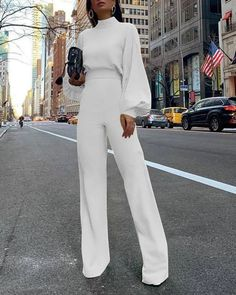 Product Fashion Bishop Sleeve Pure Colour Half Collar Jumpsuits Brand Name Swankmyway SKU Gender Women Style Fashion/Elegant/Modern Type Jumpsuits Material Polyester Fiber Decoration Pure Colour PleaseNote: All dimensions … Mode Instagram, Casual Jumpsuit, Elegant Jumpsuit, White Jumpsuit, Backless Jumpsuit, White Long Sleeve Jumpsuit, Black Jumpsuit Outfit, Long Sleeve Jumpsuits, Wedding Jumpsuit