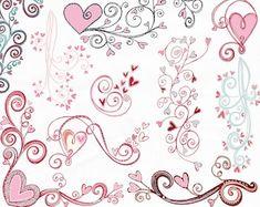Heart Clipart: Digital Heart Clipart Valentine | Etsy Heart Doodle, Heart Graphics, Heart Clip Art, Valentines Day Clipart, Blog Banner, Blog Backgrounds, Pink Owl, Valentine Heart, Digital Stamps