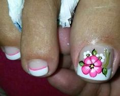 Imagen relacionada Pedicure Nail Art, Toe Nail Art, Toe Nails, Flower Pedicure Designs, Cute Pedicures, Vacation Nails, Toe Nail Designs, Summer Nails, Pretty Nails