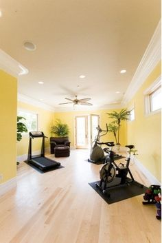 Vibrant colored home gym