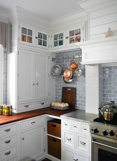 Blue subway tile, white cabinets I want this for my kitchen! Light Blue Kitchens, Blue Kitchens, Kitchen Cabinet Design, Coastal Kitchen, Kitchen Remodel, New Kitchen, Home Kitchens, Kitchen Renovation, Kitchen Design