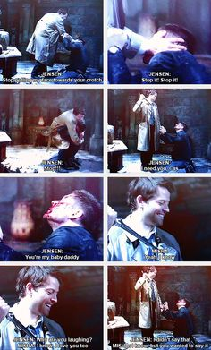 (gif set) 8x17 Gag Reel Misha Collins and Jensen Ackles. I can never watch this scene the same way again
