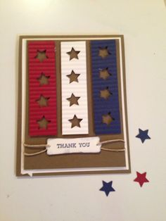 patriotice red, white and blue on kraft . columns of crimped paper with negative space stars . Stampin' Up! Military Cards, Star Cards, Cool Cards, Diy Cards, Card Tags, Paper Cards, Creative Cards, Greeting Cards Handmade, Scrapbook Cards