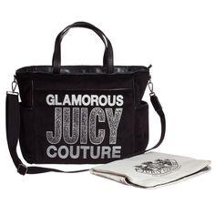 3963e3b49d26 Black Velour   Diamanté Changing Bag with Mat (42cm)