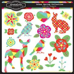 Spring Artesian Floral Woodland Fawn Collection Clip by DreAmLoft, $2.50