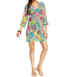 Anne Cole Sheer V Neck Tunic Cover Up-Beautiful Lightweght Print! V neckline, pull over style, 3/4 sleeves, all over print, printed sheer mesh, unlined, polyester/spandex, hand wash, (seamstress took in sides for shape) Macy's (s/m)
