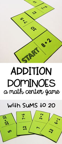 Addition dominoes are a fun and easy way for students to practice their addition facts.  Review sums to 20 with this math center game.