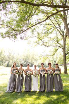 Long Gray Bridesmaid Dresses | Erin Johnson Photography | www.theknot.com
