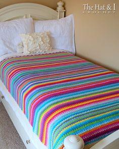 Ravelry: Crayon Box Blanket pattern by Marken of The Hat & I Afghan Crochet Patterns, Crochet Stitches, Blanket Crochet, Crochet Bedspread, Manta Crochet, Crochet Baby, Rainbow Crochet, Crotchet, Free Crochet