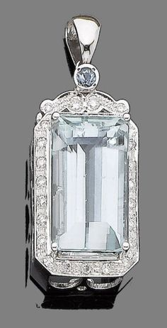 An aquamarine and diamond pendant The large step-cut aquamarine, within a brilliant-cut surround, to a similarly-cut diamond and circular-cut aquamarine surmount, diamonds approx. 0.80ct total, length 5.4cm