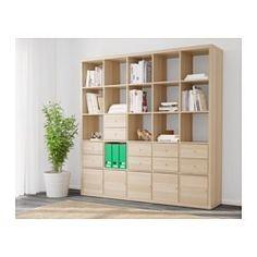 KALLAX Estantería +10 accesorios, efecto roble tinte blanco - 182x182 cm - IKEA