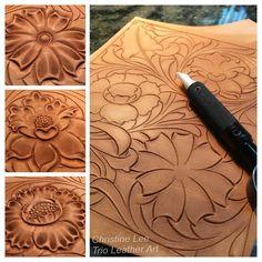 "75 Likes, 6 Comments - Christine Lee (@dincoocnid) on Instagram: ""操練~ 操練~ (網上找到的唐草圖案,僅做練習用)#皮雕工藝 #皮雕 #皮 #仨革藝 #dinnidworkshop #trioleatherart #handmade #leathercraft…"""