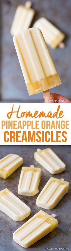 Homemade Pineapple Orange Creamsicle Recipe - A Spicy Perspective Ice Cream Desserts, Köstliche Desserts, Frozen Desserts, Healthy Dessert Recipes, Frozen Treats, Delicious Desserts, Yummy Food, Orange Creamsicle, Healthy Ice Cream