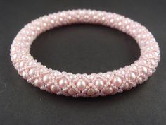 Items similar to Bangle Classic Rose Swarovski Components on Etsy Netted Bracelet, Beaded Bracelets Tutorial, Rope Necklace, Pearl Bracelet, Bangle Bracelets, Bangles, Bead Jewellery, Pearl Jewelry, Beaded Jewelry