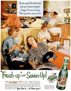 """Fresh up"" with 7-Up - 1954 advertisement."