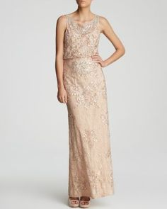 Aidan Mattox Gown - Sleeveless Sequin Lace Blouson | Bloomingdale's