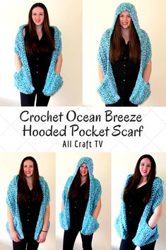 Crochet Ocean Breeze Hooded Pocket Scarf by Sara from All Craft TV Crochet Hooded Cowl, Hooded Scarf Pattern, Crochet Hoodie, Crochet Shrugs, Scarf Patterns, Boho Crochet Patterns, Crochet Bookmark Pattern, Crochet Wrap Pattern, Crochet Ideas