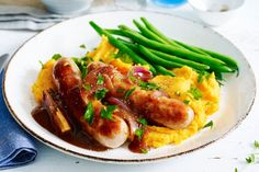 Change up your traditional bangers and mash with this sweet potato recipe.