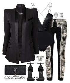 """New Years Eve"" by fashionkill21 ❤ liked on Polyvore featuring AQ/AQ, Balmain, Yves Saint Laurent and Allurez"